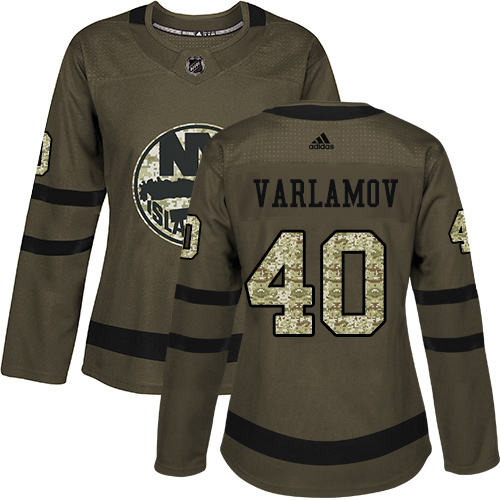 Adidas Islanders #40 Semyon Varlamov Green Salute to Service Women's Stitched NHL Jersey