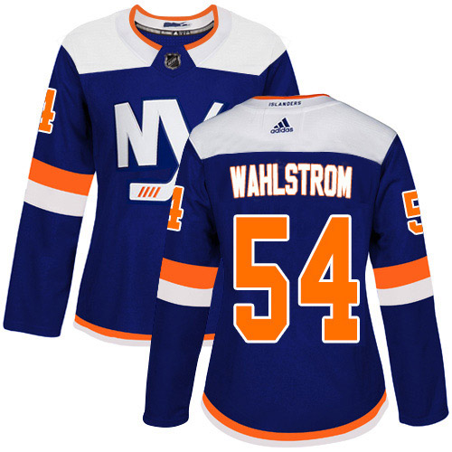 Adidas Islanders #54 Oliver Wahlstrom Blue Alternate Authentic Women's Stitched NHL Jersey