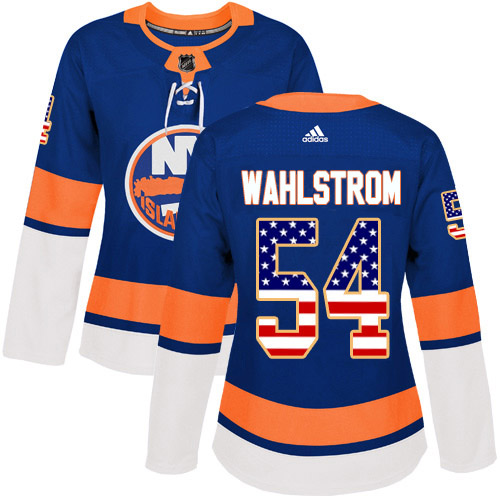 Adidas Islanders #54 Oliver Wahlstrom Royal Blue Home Authentic USA Flag Women's Stitched NHL Jersey