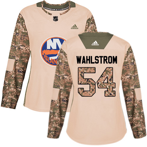 Adidas Islanders #54 Oliver Wahlstrom Camo Authentic 2017 Veterans Day Women's Stitched NHL Jersey