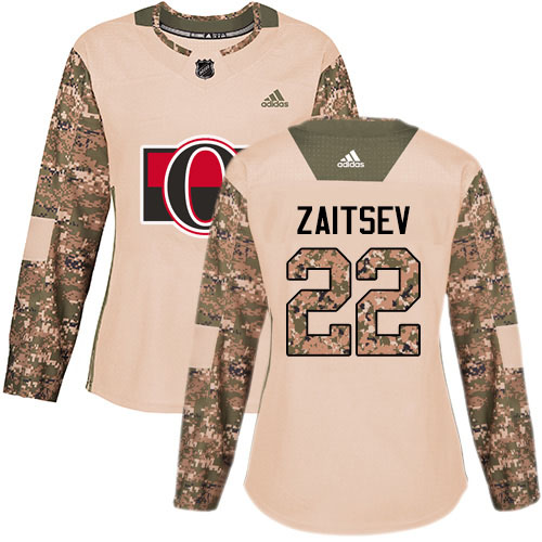 Adidas Senators #22 Nikita Zaitsev Camo Authentic 2017 Veterans Day Women's Stitched NHL Jersey