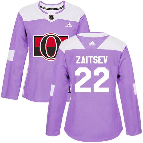Adidas Senators #22 Nikita Zaitsev Purple Authentic Fights Cancer Women's Stitched NHL Jersey