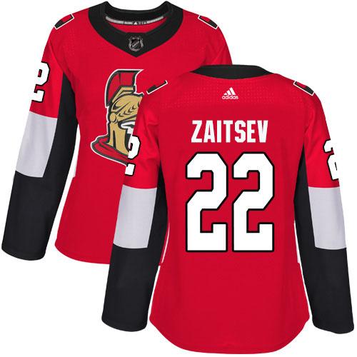 Adidas Senators #22 Nikita Zaitsev Red Home Authentic Women's Stitched NHL Jersey