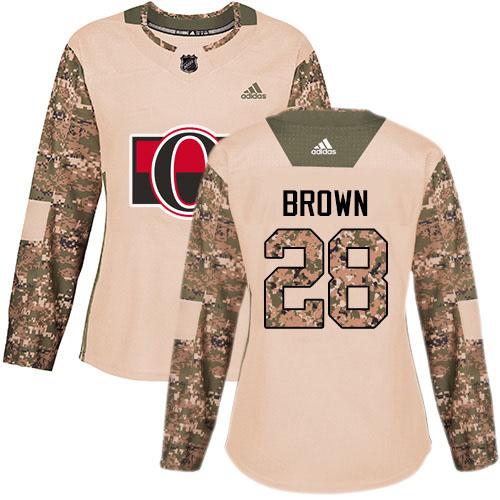 Adidas Senators #28 Connor Brown Camo Authentic 2017 Veterans Day Women's Stitched NHL Jersey