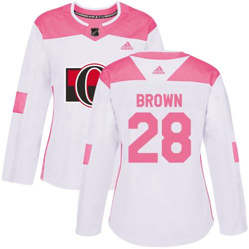 Adidas Senators #28 Connor Brown White/Pink Authentic Fashion Women's Stitched NHL Jersey