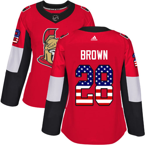 Adidas Senators #28 Connor Brown Red Home Authentic USA Flag Women's Stitched NHL Jersey