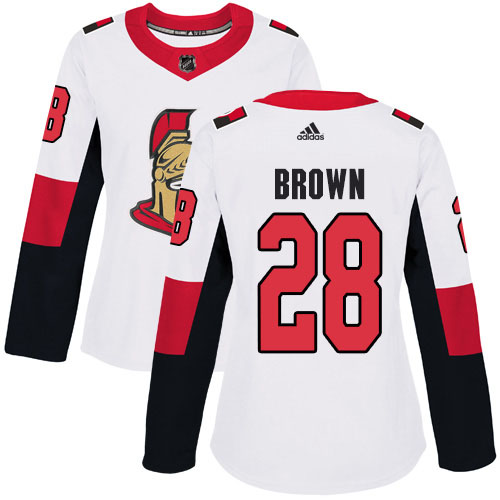 Adidas Senators #28 Connor Brown White Road Authentic Women's Stitched NHL Jersey