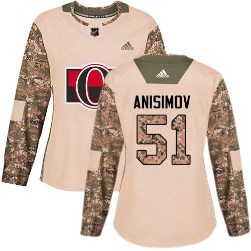 Adidas Senators #51 Artem Anisimov Camo Authentic 2017 Veterans Day Women's Stitched NHL Jersey