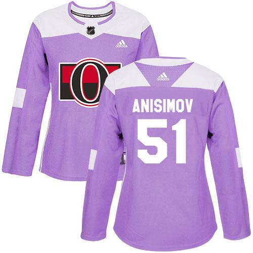 Adidas Senators #51 Artem Anisimov Purple Authentic Fights Cancer Women's Stitched NHL Jersey