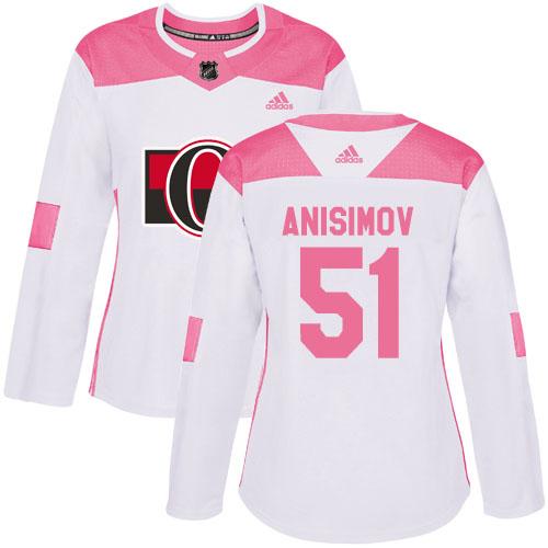 Adidas Senators #51 Artem Anisimov White/Pink Authentic Fashion Women's Stitched NHL Jersey