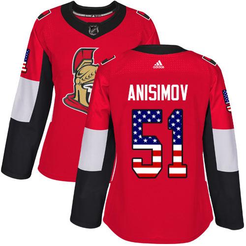 Adidas Senators #51 Artem Anisimov Red Home Authentic USA Flag Women's Stitched NHL Jersey