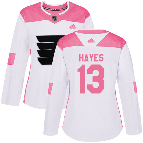 Adidas Flyers #13 Kevin Hayes White/Pink Authentic Fashion Women's Stitched NHL Jersey