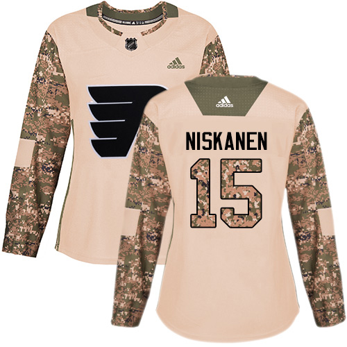 Adidas Flyers #15 Matt Niskanen Camo Authentic 2017 Veterans Day Women's Stitched NHL Jersey