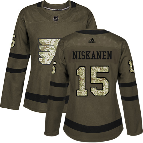 Adidas Flyers #15 Matt Niskanen Green Salute to Service Women's Stitched NHL Jersey