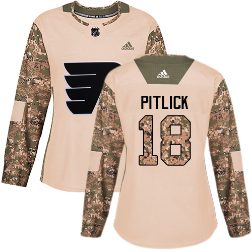 Adidas Flyers #18 Tyler Pitlick Camo Authentic 2017 Veterans Day Women's Stitched NHL Jersey