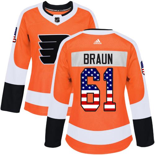 Adidas Flyers #61 Justin Braun Orange Home Authentic USA Flag Women's Stitched NHL Jersey