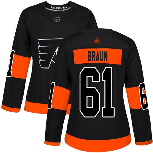 Adidas Flyers #61 Justin Braun Black Alternate Authentic Women's Stitched NHL Jersey