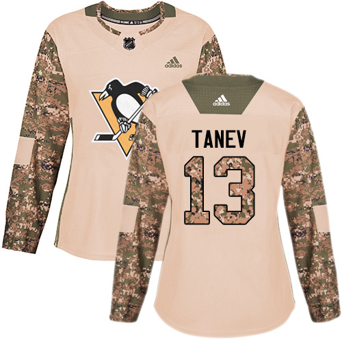 Adidas Penguins #13 Brandon Tanev Camo Authentic 2017 Veterans Day Women's Stitched NHL Jersey