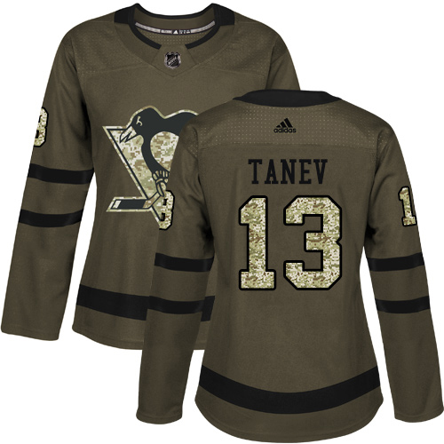 Adidas Penguins #13 Brandon Tanev Green Salute to Service Women's Stitched NHL Jersey