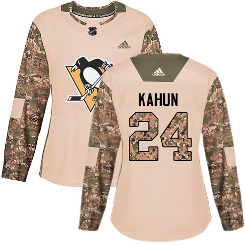 Adidas Penguins #24 Dominik Kahun Camo Authentic 2017 Veterans Day Women's Stitched NHL Jersey