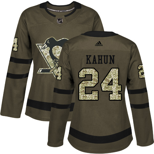 Adidas Penguins #24 Dominik Kahun Green Salute to Service Women's Stitched NHL Jersey