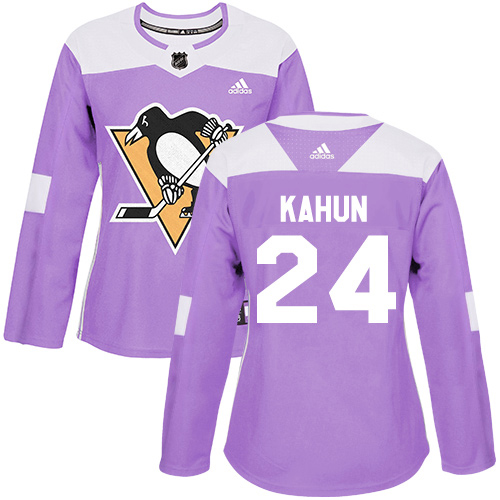 Adidas Penguins #24 Dominik Kahun Purple Authentic Fights Cancer Women's Stitched NHL Jersey