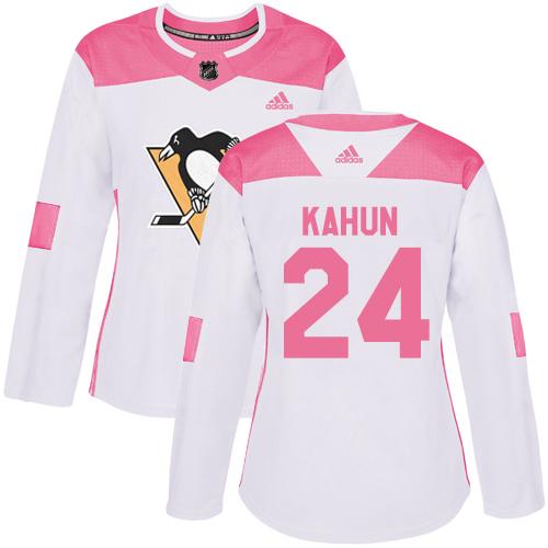 Adidas Penguins #24 Dominik Kahun White/Pink Authentic Fashion Women's Stitched NHL Jersey