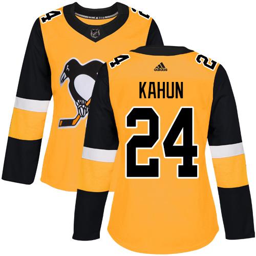 Adidas Penguins #24 Dominik Kahun Gold Alternate Authentic Women's Stitched NHL Jersey