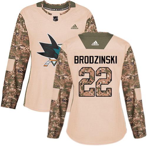 Adidas Sharks #22 Jonny Brodzinski Camo Authentic 2017 Veterans Day Women's Stitched NHL Jersey