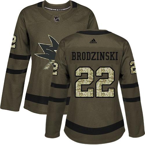 Adidas Sharks #22 Jonny Brodzinski Green Salute to Service Women's Stitched NHL Jersey