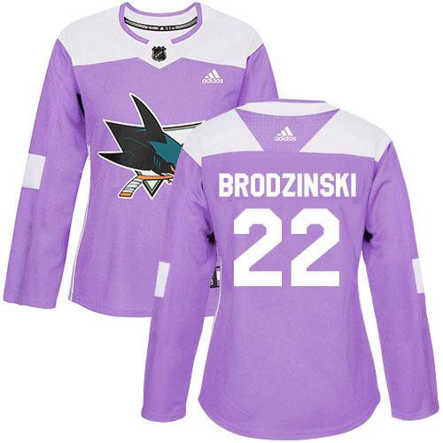 Adidas Sharks #22 Jonny Brodzinski Purple Authentic Fights Cancer Women's Stitched NHL Jersey