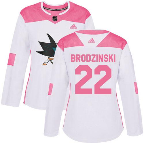Adidas Sharks #22 Jonny Brodzinski White/Pink Authentic Fashion Women's Stitched NHL Jersey
