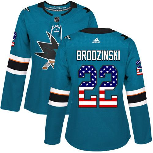 Adidas Sharks #22 Jonny Brodzinski Teal Home Authentic USA Flag Women's Stitched NHL Jersey