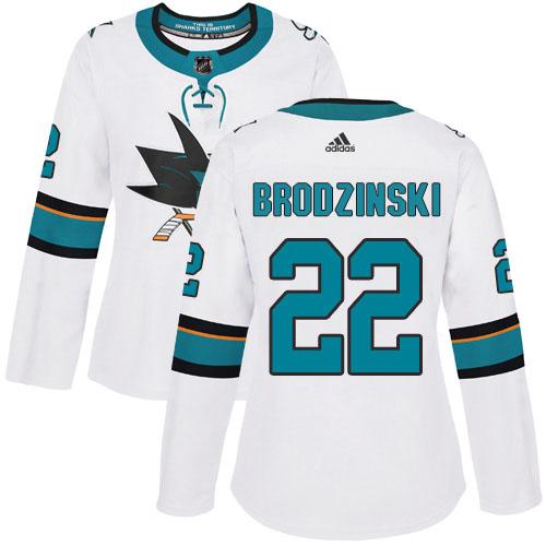 Adidas Sharks #22 Jonny Brodzinski White Road Authentic Women's Stitched NHL Jersey