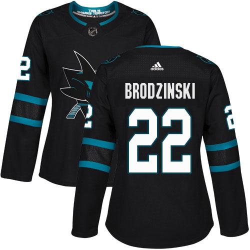 Adidas Sharks #22 Jonny Brodzinski Black Alternate Authentic Women's Stitched NHL Jersey