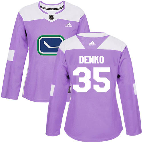 Adidas Canucks #35 Thatcher Demko Purple Authentic Fights Cancer Women's Stitched NHL Jersey
