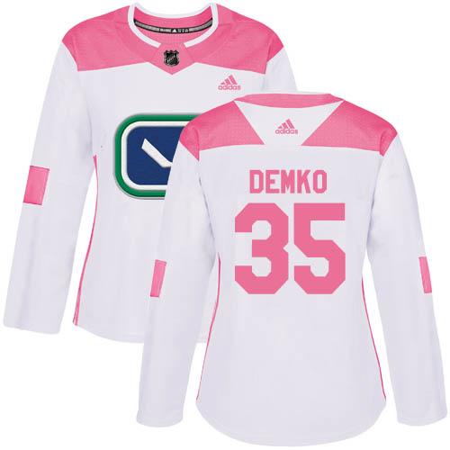 Adidas Canucks #35 Thatcher Demko White/Pink Authentic Fashion Women's Stitched NHL Jersey