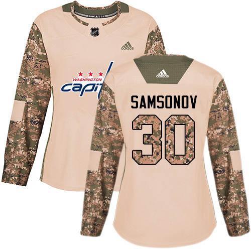 Adidas Capitals #30 Ilya Samsonov Camo Authentic 2017 Veterans Day Women's Stitched NHL Jersey