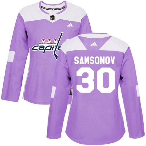 Adidas Capitals #30 Ilya Samsonov Purple Authentic Fights Cancer Women's Stitched NHL Jersey