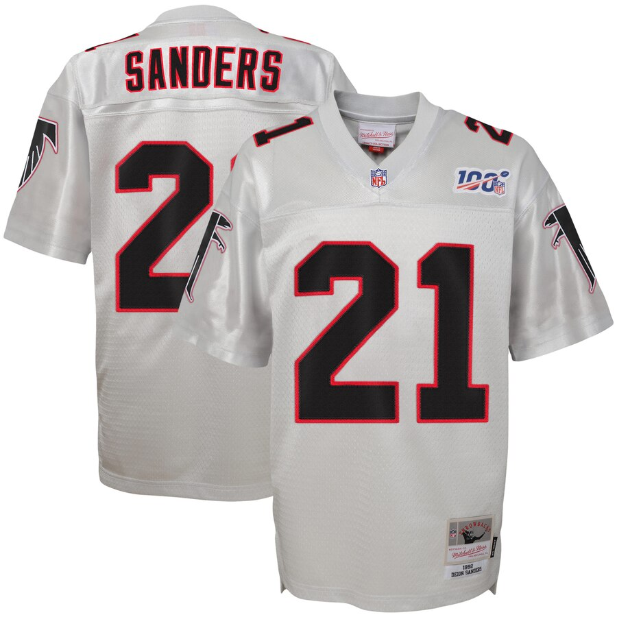 Youth Atlanta Falcons #21 Deion Sanders Mitchell & Ness Platinum NFL 100 Retired Player Legacy Jersey
