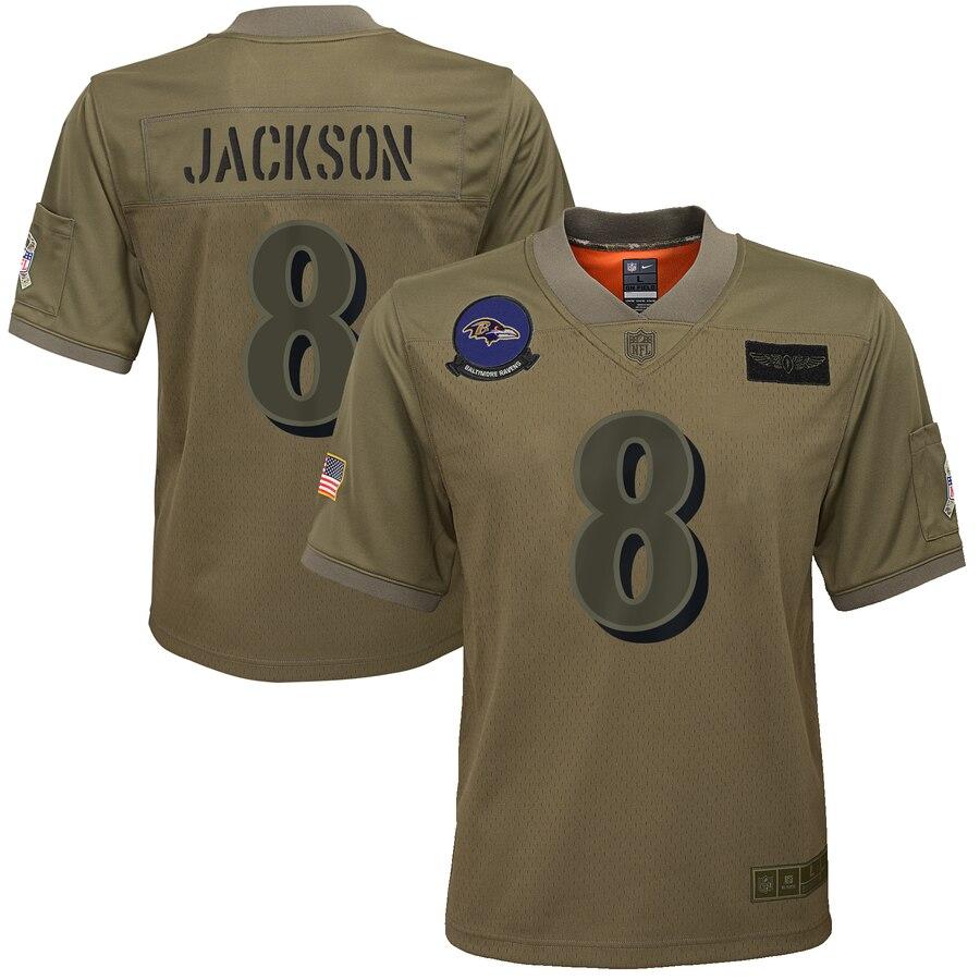 Youth Baltimore Ravens #8 Lamar Jackson Nike Camo 2019 Salute to Service Game Jersey