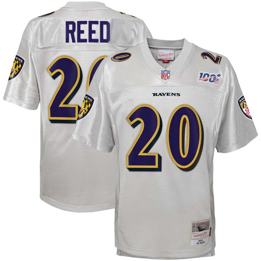 Youth Baltimore Ravens #20 Ed Reed Mitchell & Ness Platinum NFL 100 Retired Player Legacy Jersey