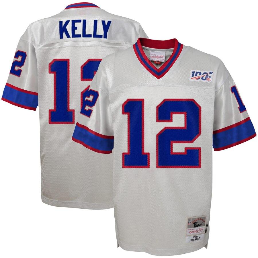 Youth Buffalo Bills #12 Jim Kelly Mitchell & Ness Platinum NFL 100 Retired Player Legacy Jersey