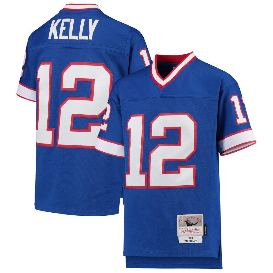 Youth Buffalo Bills #12 Jim Kelly Mitchell & Ness Royal 1990 Legacy Retired Player Jersey