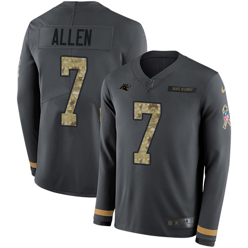 Nike Panthers #7 Kyle Allen Anthracite Salute to Service Youth Stitched NFL Limited Therma Long Sleeve Jersey