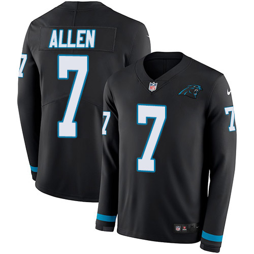 Nike Panthers #7 Kyle Allen Black Team Color Youth Stitched NFL Limited Therma Long Sleeve Jersey