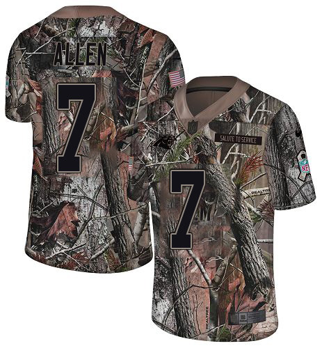 Nike Panthers #7 Kyle Allen Camo Youth Stitched NFL Limited Rush Realtree Jersey
