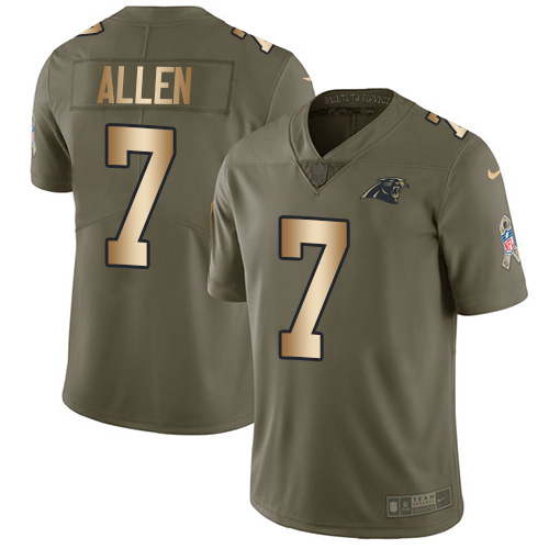 Nike Panthers #7 Kyle Allen Olive/Gold Youth Stitched NFL Limited 2017 Salute to Service Jersey