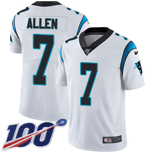 Nike Panthers #7 Kyle Allen White Youth Stitched NFL 100th Season Vapor Limited Jersey