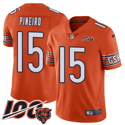 Nike Bears #15 Eddy Pineiro Orange Youth 100th Season Stitched NFL Limited Rush Jersey